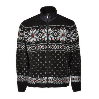 Polo Ralph Lauren Sherpa Fairisle Zip Cardigan Sweater X-Large Black Red White