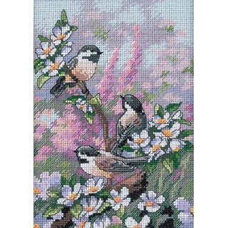 """Gold Petite Chickadees In Spring Counted Cross Stitch Kit-5""""X7"""" 16 Count"""