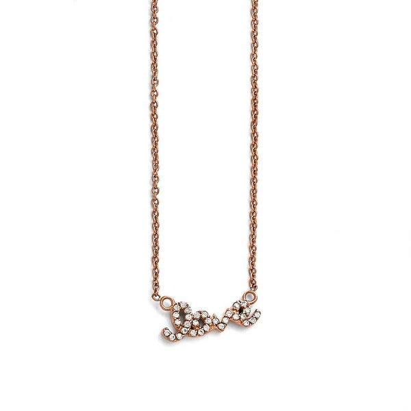 Chisel Stainless Steel Polished Pink IP-plated CZ Love Necklace - 18 in