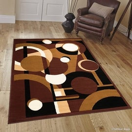 "Allstar Dark Brown Area Rug. Contemporary. Abstract. Traditional. Geometric. Formal. Shapes. Circles (3' 9"" x 5' 1"")"