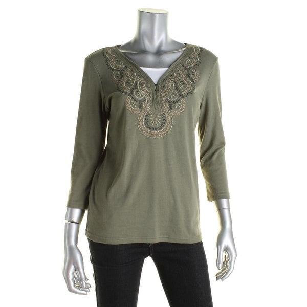 Karen Scott Womens Casual Top Embroidered 3/4 Sleeves