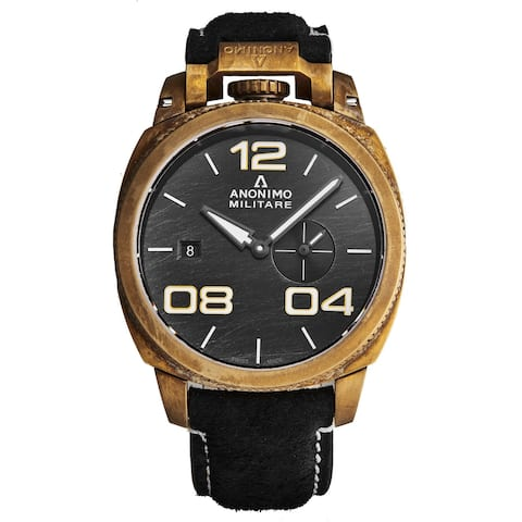 Anonimo Men's AM-1020.04.001.A01 'Militare' Black Scratched Dial Leather Strap Bronze Swiss Automatic Watch
