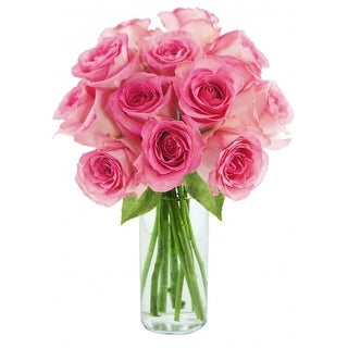 KaBloom: Sweet Pink Bouquet of 12 Fresh Cut Pink Roses (Farm-Fresh, Long-Stem) with Vase