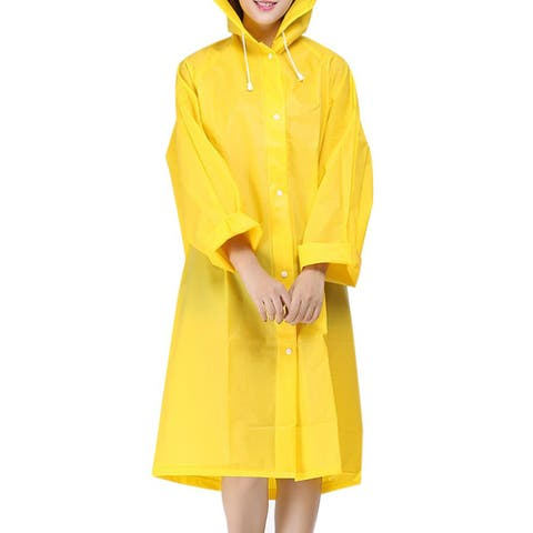 QZUnique Women's Lightweight Rainproof Windbreaker Raincoat Rain Poncho with Hood Rain Jacket