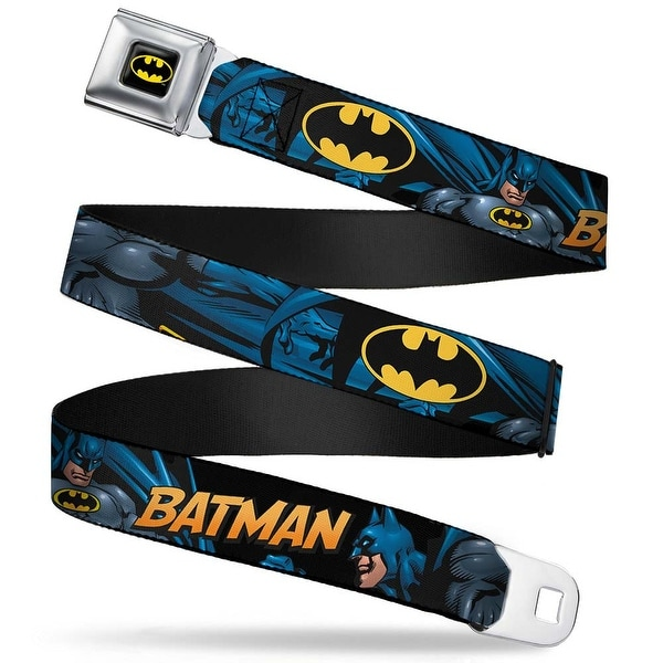 Batman Full Color Black Yellow Batman Action Poses Bat Signal Black Webbing Seatbelt Belt