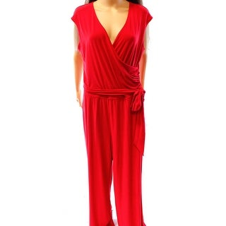 Lauren Ralph Lauren NEW Red Women's Size Medium M Faux Wrap Jumpsuit