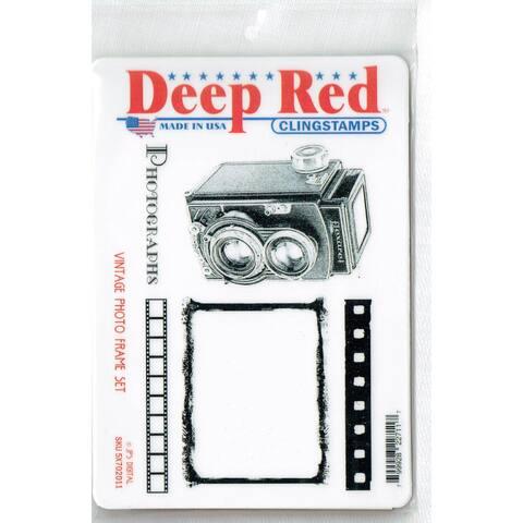 Deep Red Stamps Vintage Photo Frame Rubber Cling Stamp Set - 4 x 6