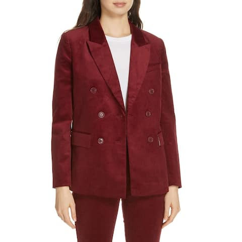 Joie Womens Blazer Red Size 12 Double-Breasted Peaked Lapel Corduroy