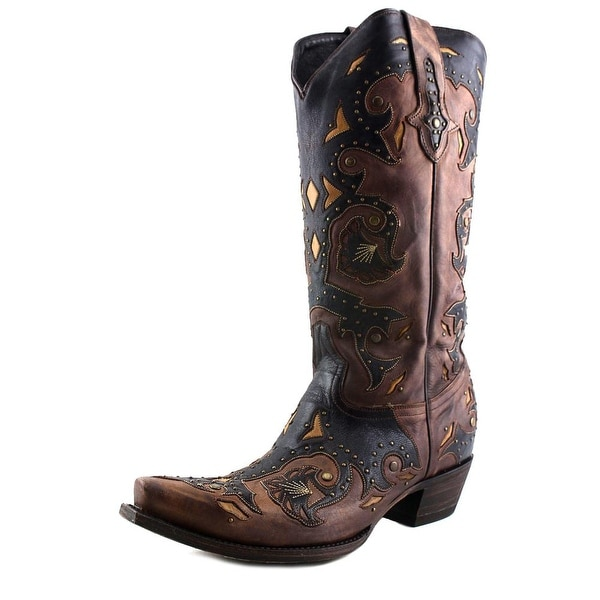 Lucchese Studded Scarlette Women Pointed Toe Leather Brown Western Boot