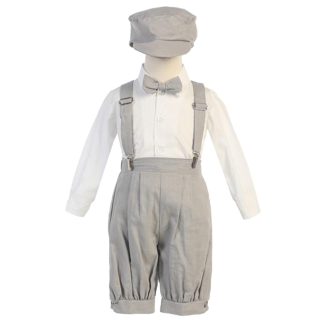 Lito Little Boys Charcoal Suspenders Short Pants Hat Easter Outfit Set 2-4T