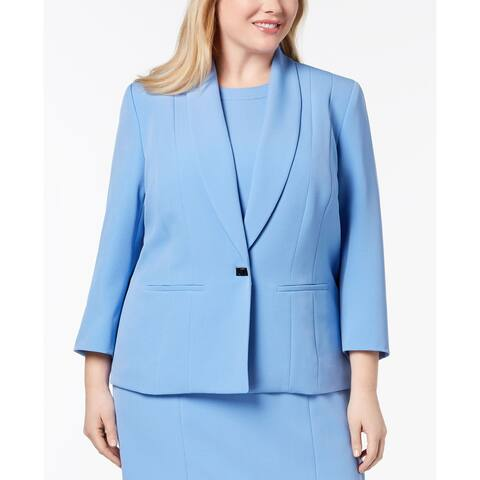 Kasper Women's Jacket Plus Turn-Lock Button Shawl Lapel