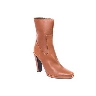 Car Shoe By Prada Solid Brown Leather Mid Calf Boots