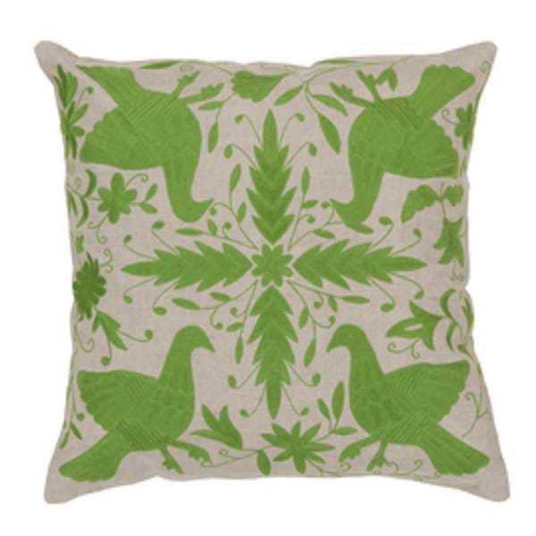 "18"" Light Gray and Grassy Green Nature's Peace Sign Decorative Throw Pillow"