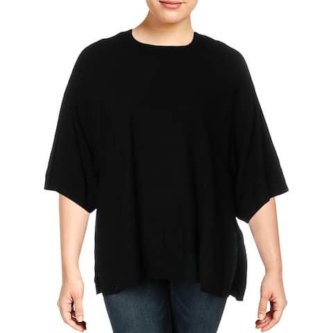 Love Scarlett Womens Pullover Sweater Boxy Mock Neck - Black - XL
