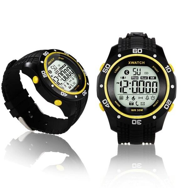 Indigi® Bluetooth 4.0 Sports Waterproof Watch + SMS/Call Notify + Pedometer + Smart Alarm + 1 Year Battery (Yellow)