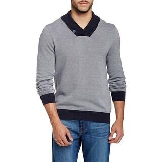 14th & Union NEW Blue Navy Mens Medium M Shawl Collar V-Neck Sweater