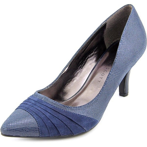 Karen Scott Gladdys Women Pointed Toe Canvas Blue Heels