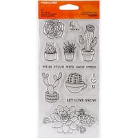 "Fiskars Clear Stamps 4""X8""-Stuck With Each Other"
