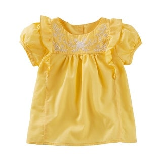 OshKosh B'gosh Little Girls' Ruffle Poplin Top, Yellow, 3 Toddler