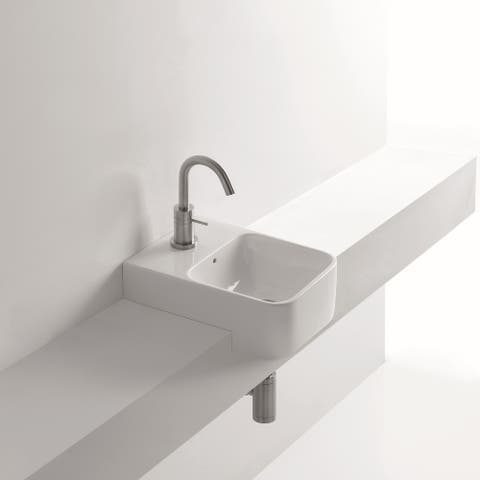 "WS Bath Collections Normal 35S 13-4/5"" Ceramic Recessed Bathroom Sink - White"