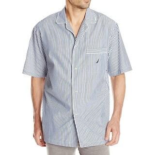 Nautica NEW Blue White Mens Size Large L Striped Nightshirt Sleepwear