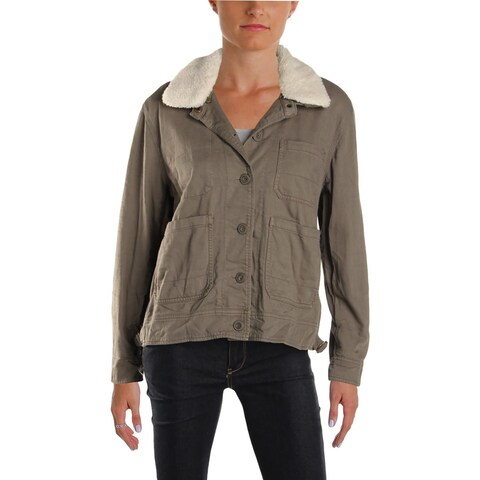 Lucky Brand Womens Field Coat Fall Faux Sherpa