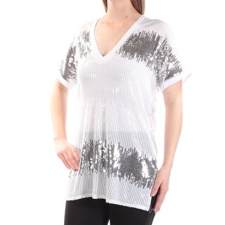 Womens White Silver Short Sleeve V Neck Evening Top Size M