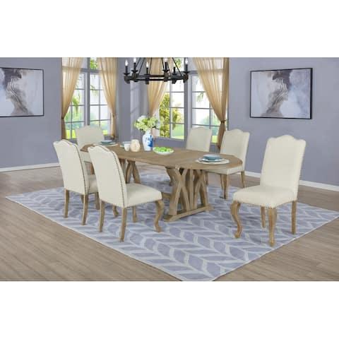 "Best Quality Furniture Rustic Oak 7-piece 18"" Extension Dining Set"