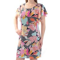 MSK Womens Blue Floral Bell Sleeve Scoop Neck Above The Knee Shift Dress  Size: 4