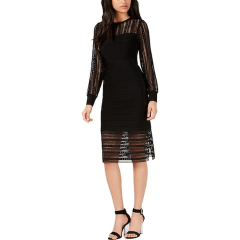 French Connection Womens Vivian Cocktail Dress Lace Midi - Black