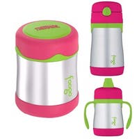 Thermos Foogo 10 oz Insulated Food Jar, Straw Drink Bottle & 7 oz Sippy Cup - Pink