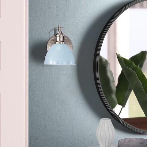 Modern Vanity Light 1-Light for Bathroom,Light Blue Brushed Nickel Finish - 8*6*8