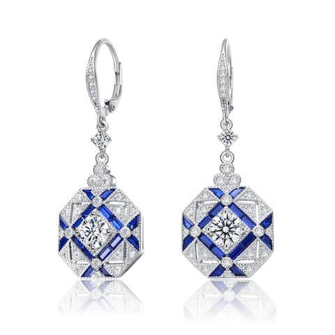 Collette Z Sterling Silver with Rhodium Plated and Sapphire Cubic Zirconia Drop Earrings
