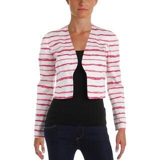 Nine West Womens Blazer Striped Open Front