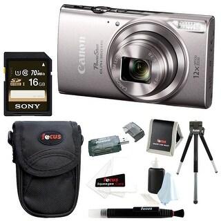 Canon PowerShot ELPH 360 Digital Camera (Silver) w/ 16GB Accessory Bundle