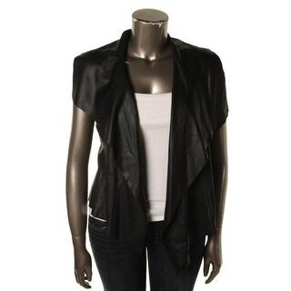 Karen Kane Womens Faux Leather Sleeveless Cardigan Top - M