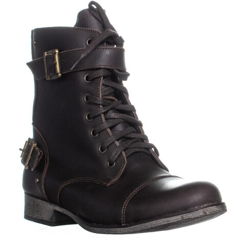 DV Dolce Vita Sargeant Lace Up Dual Buckle Combat Boots, Brown - 11 US