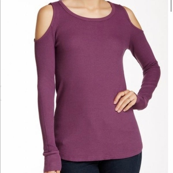 bd6f7297699f2 Shop Splendid NEW Purple Womens Size Small S Cold-Shoulder Thermal Knit Top  - Free Shipping On Orders Over  45 - Overstock.com - 20712450