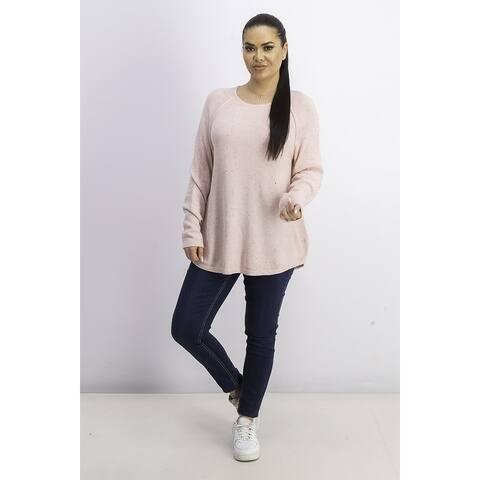 Karen Scott Women's Curved-Hem Sweater Ks Tea Rose Nep Size XL