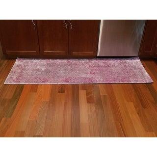 Safavieh Valencia Lavender/ Multi Overdyed Distressed Silky Polyester Runner (2' 3 x 6')