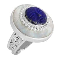 Sajen Natural Carved Lapis & Natural Mother-of-Pearl Goddess Ring in Sterling Silver - Blue