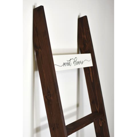 6ft Country Chic Decorative Blanket Ladder 'SWEET DREAMS' - Light Brown - 72 x 17 x 3