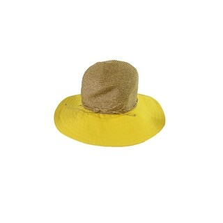 Nine West Beige Yellow Canvas And Straw Floppy Hat OS