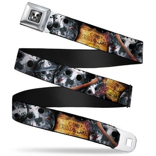Jason Mask2 Close Up Full Color Black Grays Friday The 13Th Welcome To Camp Seatbelt Belt