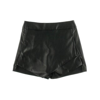 Aqua Womens Skort Faux Leather Asymmetric