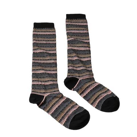 Missoni GM00CMD5220 0005 Gray/Pink Mixed Stripe Knee Length Socks