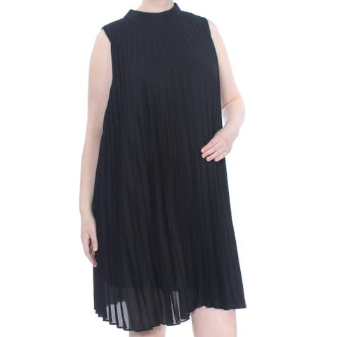 SOPRANO Womens Black Pleated Mock Neck Sleeveless Above The Knee Shift Cocktail Dress Plus Size: 2X