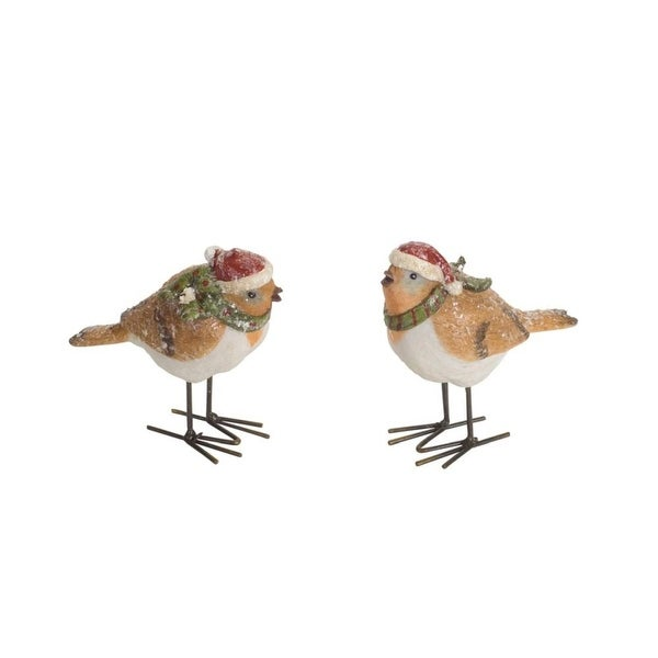 "Pack of 12 of an Assortment of 2 Gold Colored Frosted Birds in Santa Hats 3""H - green"