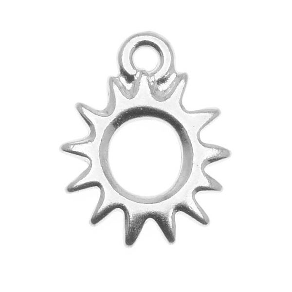 TierraCast Rhodium Plated Pewter Radiant Sun Charm 14.2mm (1)