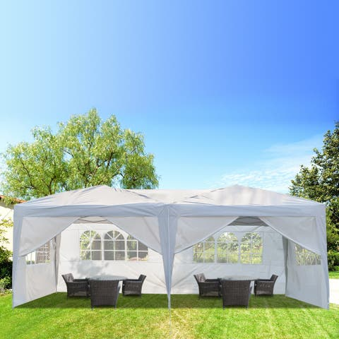 3 x 6m Practical Waterproof Folding Tent White 4/6 Sides